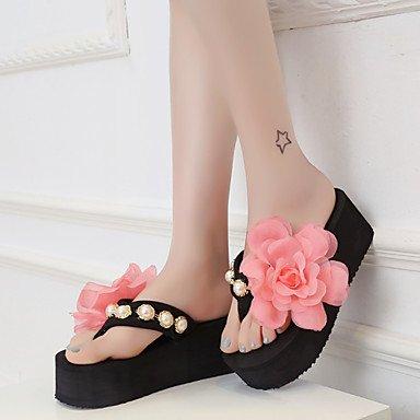 zhENfu Scarpe donna tessuto Platform Flip Flop pantofole Esterni / abito nero / rosa / Bianco Black