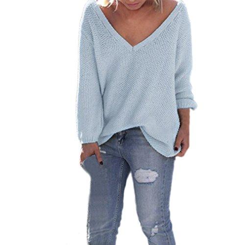 Tonsee® Femmes Manches Longues en Maille Pull Tricots en Vrac Pull Jumper Tops Bleu