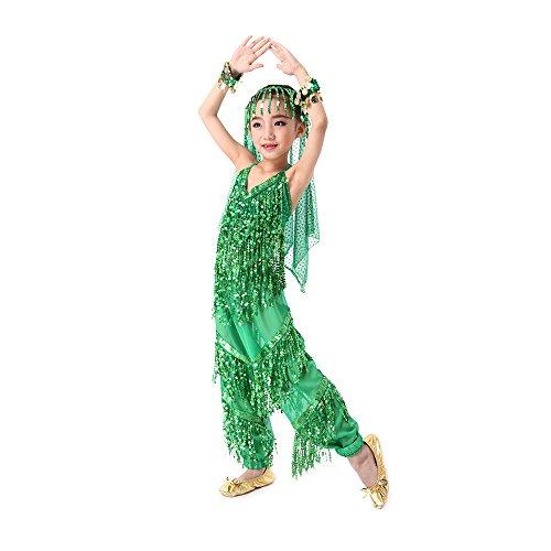 SymbolLife Mädchen Kleid Kinder Tanzkleid tanzkleidung kinder Halloween Karneval Kostüme Komplet, Trägertop + Pluderhosen + Schleier XL Grün (Bauchtänzerin Schuhe)