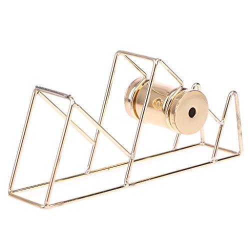 Logres - Organizador de escritorio con dispensador de cinta adhesiva para papelería, color dorado