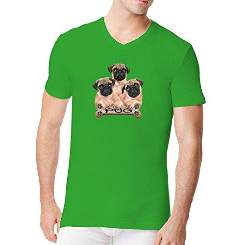 Im-Shirt - Hunde Shirt: Pugs - 3 Möpse cooles Fun Men V-Neck - verschiedene Farben Kelly Green