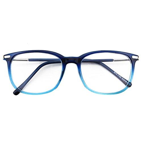 CGID CN79 Klassische Nerdbrille ellipse 40er 50er Jahre Pantobrille Vintage Look clear lens, Blau, 52 -