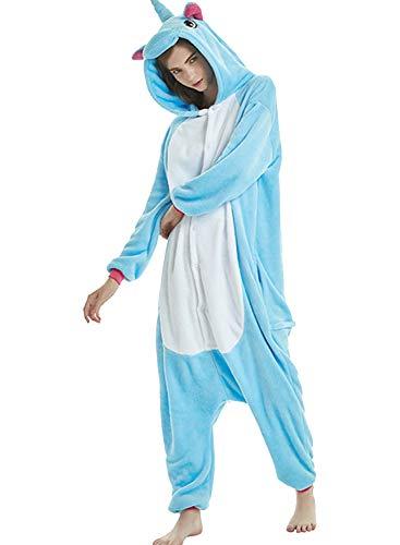 Kostüm Einhorn Womens - Amenxi Tier Onesie Pyjama Cosplay Kostüme Schlafanzug Erwachsene Unisex Animal Tieroutfit tierkostüme Jumpsuit Nachtwäsche (Blau, Körpergröße 155-165cm (M))