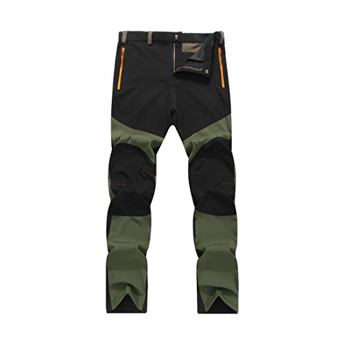Pantalones de hombre Impermeable A prueba de viento Al aire libre Excursionismo Alpinismo Deportes Calentar Invierno Grueso Táctico Pantalones LMMVP (L, Negro)