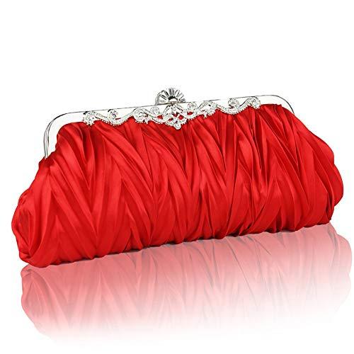AmzGxp Damen Bankett Clutch Plissee Velvet Crossbody Umhängetaschen Abendtasche Fashion Dress Hochzeitstasche Schwarz/Rot exquisit (Farbe : Red) -