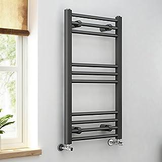 iBathUK | 800 x 450 Anthracite Straight Heated Towel Rail Bathroom Radiator