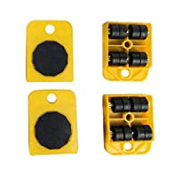 ZOOMY 4Pieces Furniture Mover Transport Lifter Heavy Stuffs 4 Wheel Roller Hand Tools - Yellow