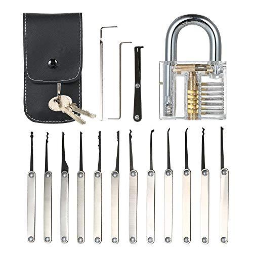Hylotele 15pcs Lock Picking Set Kit Tool mit transparenten Praxis Training Vorhängeschloss Schloss für Schlosser Anfänger und Profis (Schloss-picking Kit)