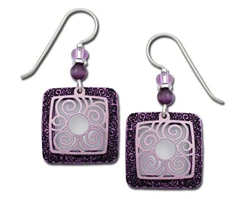 Adajio Ohrringe lila Lavendel 2-teilig filigrane Overlay Quadrate handbemalt Geschenkbox hergestellt in den USA -