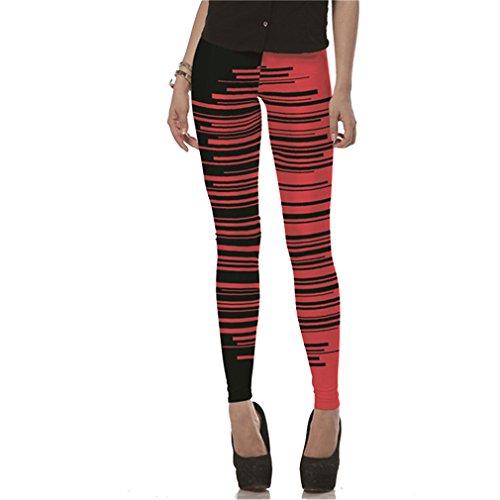 Moda Red Black Lines Printed Leggins Mujer Leggings Negro Milk Pants Mujeres Pant KDK1424 M