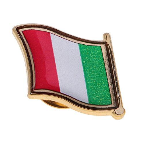 perfk 1 Stück Pin Anstecker Flagge Fahne Nationalflagge Flaggenpin Badge Button Flaggen Clip Anstecknadel aus Metall, 2,2x2cm - Italien 2-pin Clip
