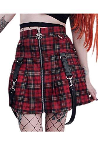 Fanvans Mini Vestidos Plisados con Cremallera para Mujer Punk...