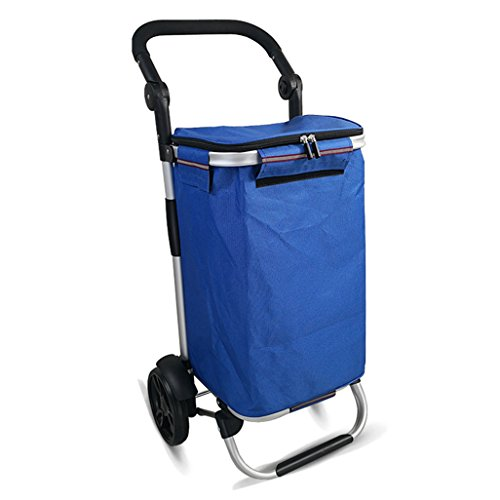 JUN-Einkaufstrolleys Leichte Aluminiumlegierung Faltbarer Einkaufslaufkatzen-Reise-Wagen 2 Lager-leises Rad-zusammenklappbare Ziehwagen Oxford-Tuch-tragbare Tragekapazität 30L Gewicht: 2.2kg im Blau