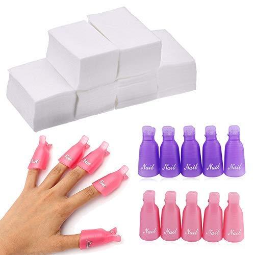 20 PCS Nagellack Gap Entferner Clips mit 500 pcs Nail breit Baumwolle Pads, Kunststoff Zehen Nagel und Finger Nail Soak Off Cap Clips für Acryl Nail Entferner (Rosa und Lila) -