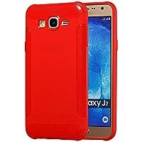 BONROY Handy Schutzhülle für Samsung Galaxy J7 (2015) Hülle TPU Silikon Backcover Case Handytasche Einfarbig Telefon-Kasten Tasche Schutz Cover Design - (LD-rot)