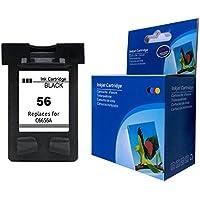 Kyansin HP 56 C6656AE (1-Pack Negro) Cartucho de Tinta Remanufacturado para HP Deskjet 450ci 450cbi 450Wbt 5150 5150w 5550 5551 5650 5650w 5652 5850 para C6656A