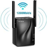rockspace WLAN Verstärker 1200 WLAN Repeater 5GHz/867Mbit/s 2,4GHz/300Mbit/s, WiFi Extender mit Gigabit LAN-Port, WPA2-PSK Sicherheit, Kompatibel zu Allen WLAN Geräten, deutschsprachige Version