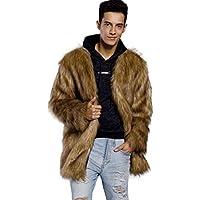 Hombres Chaqueta,Sonnena ❤️ ❤️ ❤️ Pieles de imitación capa de otoño invierno para hermoso hombre cálido y de moda jacket manga larga suave y cómodo traje de Citas y Actividades al aire libre (MARRON, XL)