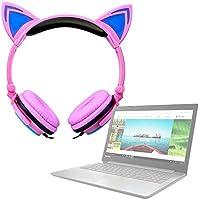 DURAGADGET Auriculares Plegables estéreo con diseño de Orejas de Gato en Color Rosa para Portátil Lenovo