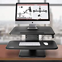 Duronic (Renewed) Sit-Stand Desk DM05D12 | Height Adjustable Office Workstation | 64x45.5cm Platform | Raises 12-41cm | PC Computer Screen, Keyboard, Laptop Riser | Ergonomic Desktop Table Converter