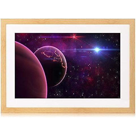 Pianeta, Luna, Galaxy, Stampa artistica Burlywood In Legno Da Parete con Cornice portafoto 40,6x 30,5cm Framed