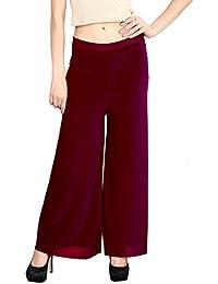 Glam Angel Super Premium Ultra Soft Basic Solid Maroon Plazzo \ Palazzo Pants Leggings Cotton For Women