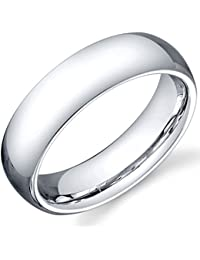 The Jewelbox Classic Rhodium Plated Tungsten Half Round Wedding Engagement Band Ring For Men