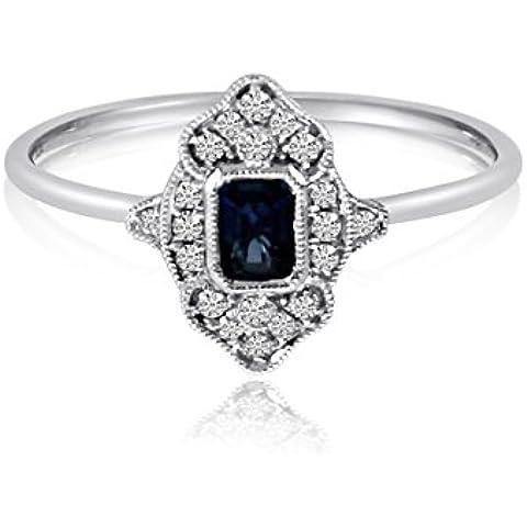 14K Oro Blanco con filigrana Esmeralda Cut zafiro y anillo de diamante
