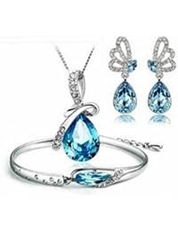 7a54f407e479 Emorias 1 Set Juegos de Joyas Crystal Angel Lágrimas Elegante Collar  Pendientes Pulsera Mujeres Joyería Accesorios