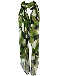 Large Green Combat Army Camouflage Design Chiffon Scarf, Sarong or Coverup