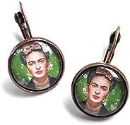 Orecchini Pendenti Cabochon, Idea Originale per Regalo Natale,Tributo a Frida Kahlo, Fatto a Mano, Gioielli Do