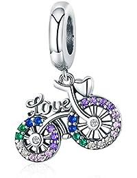 e098355c92e6 INBEAUT - Colgante de plata de ley 925 con forma de bicicleta