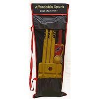 Juego de críquet deportivo asequible con bate de cricket, bola de viento, tocones, bolas y bolsa- tamaño 3 (amarillo/azul)
