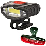 DarkHorse Bicycle LED Front Light With Warning Lights And 5 LED 5 Mode Tail Light Combo, Black And Red