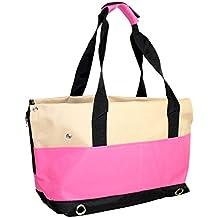 Bolso de transporte para perros y gatos Yatek, con 4 bolsillos laterales y protección anti-salto de color rosa
