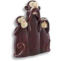 Marrone ceramica hear, Speak, see no Evil Monkeys statue 14.5in. - Male Scimmie Sagge