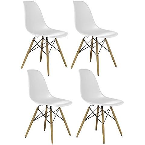 CrazyGadget Charles & Ray Eames inspirado DSW Eiffel diseño Retro madera estilo silla para oficina salón comedor cocina–color blanco