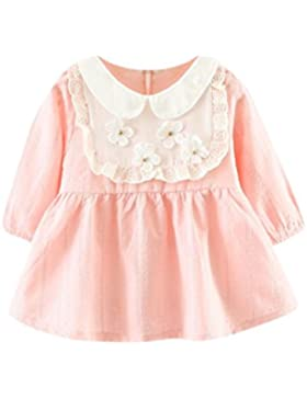 Amlaiworld Baby Mädchen langarm blumen Flickwerk kleider Prinzessin Niedlich Kleinkind kleidung,0-24Monate