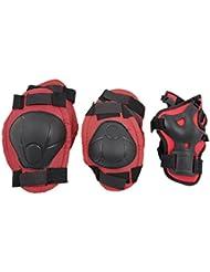 Esung - Protezione skate con ginocchiere, gomitiere e parapolsi per bambini, colore rosso e nero