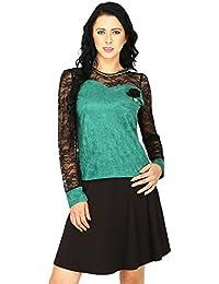 SVT ADA COLLECTIONS SWADE Green Color Designer TOP with NET Sleeves & Yoke (022505_Green_Medium)