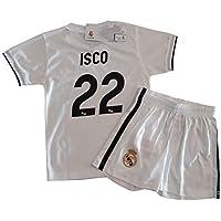 Conjunto Camiseta y Pantalon 1ª Equipación 2018-2019 Real Madrid - Réplica Oficial Licenciado - Dorsal 22 ISCO - NiñoTalla 8 años - Medidas Pecho 39 - Largo Total 54 - Largo Manga 15 cm.