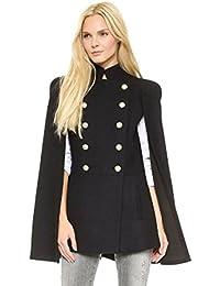 ZKOO Donna Militare Doppio Petto Mantello Cappotto Giacca Scialle Indumento  Top Cardigan Outwear Poncho Mantella 2b07e829c8af