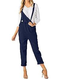 ACHIOOWA Femme Combinaison Casual Jeans Sarouel Pantalon Salopette Jumpsuit