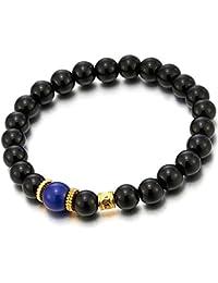 Pulsera de Negro Perlas con Ónix y Azul Oro Perla Colgantes Charm, Encantado Brazalete de Hombre Mujer, Prayer Mala