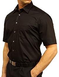 Casa Moda kurzarm Slim Line Hemd schwarz 100% Baumwolle Kentkragen TAILLIERT