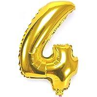 40 pulgadas Digital número 0 - 9 engrosamiento lámina de oro llenas de aire aluminio / hidrógeno / helio globos de Mylar para el día de la independencia cumpleaños aniversario de boda (número 4) UQ004