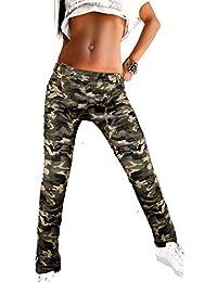 Damen Skinny Hose Army Cargo Military Stil Zier Beintaschen creme-beige Stretch