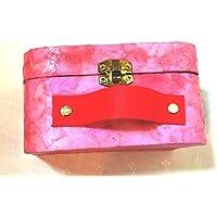 valise rétro rose - cartonnage - personnalisable - fait main - boite bijoux - mini valise - idée cadeau- Boite carton - handmade - carton recyclé - fimo- figurine-