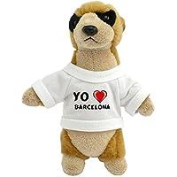 Suricata personalizada de peluche (juguete) con Amo Barcelona en la camiseta (ciudad /
