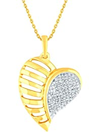 Silvernshine 1/10 Ct Pave Cluster Diamond Heart Pendant Necklace 14k Gold Fn .925 Sterling
